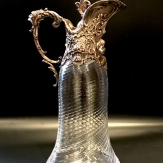 Tall Silver and Glass Claret Jug