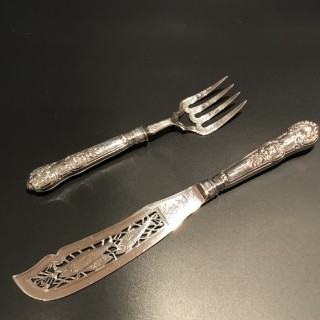 Cased Victorian Heavy Silver Fish Slice and Fork