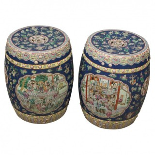 Pair of Chinese Qing Dynasty Painted Barrels / Seats