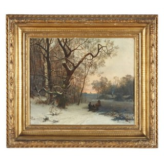 Snowscape oil painting of winter scene by Oscar Torna