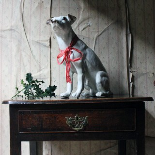 A Rare Life-Sized Late 19thC French Tin-Glazed Terracotta Figure of a Terrier c.1895-1900