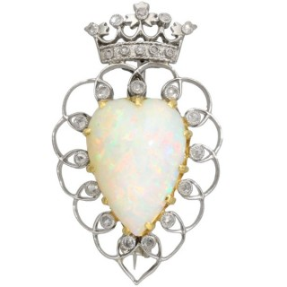 5.95 ct Opal and 0.35 ct Diamond, Platinum Brooch - Antique Victorian