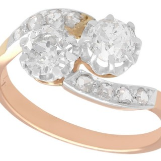 1.52 ct Diamond and 18 ct Rose Gold Twist Ring - Antique French Circa 1910