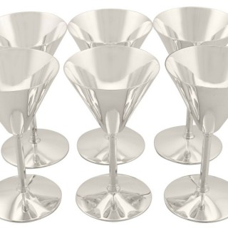 Sterling Silver Cocktail Glasses Set of Six - Art Deco Style - Vintage (1952)