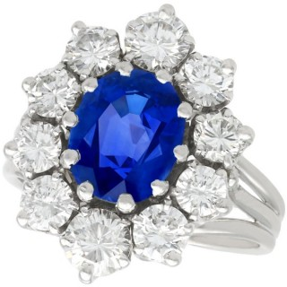 1.84ct Burmese Sapphire and 2.35ct Diamond, 18ct White Gold Cluster Ring - Vintage French Circa 1970