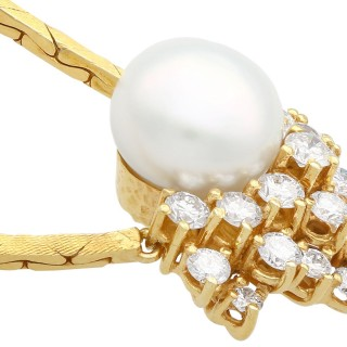 Cultured Pearl and 1.75 ct Diamond, 14ct Yellow Gold Necklace - Vintage Circa 1960