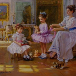 A Lady and two Young Girls with KittensA Lady and two Young Girls with Kittens