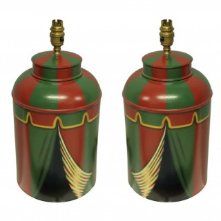 A PAIR OF HAND PAINTED TOLEWARE LAMPS