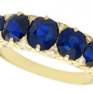3.15 ct Basaltic Sapphire and Diamond, 15 ct Yellow Gold Five Stone Ring - Antique Circa 1910