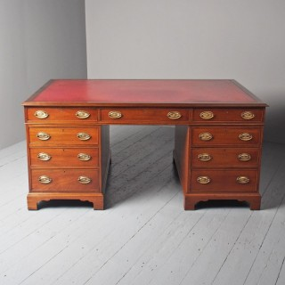 Georgian Style Mahogany Kneehole Partners Desk