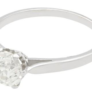 1.13ct Diamond and Platinum Solitaire Ring - Antique Circa 1920