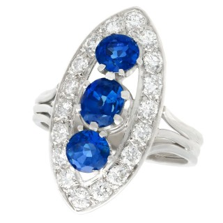 1.60 ct Sapphire and 1.05 ct Diamond, 18 ct White Gold Cluster Ring - Vintage French Circa 1970