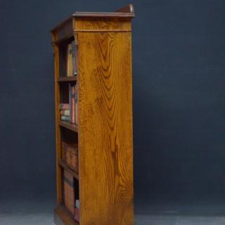 Late Victorian Solid Oak Open Bookcase