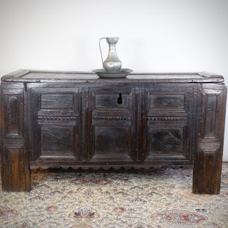 Late Renaissance, German Oak Chest Of Large Size, Westphalia, Circa 1550.