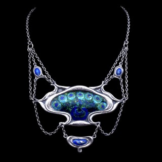 Ramsden and Carr silver and enamel peacock necklace