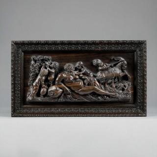 A Fine Set of Six Carved Mythological Panels