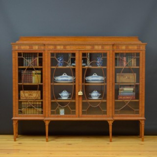 Large Edwardian Satinwood Display Cabinet Bookcase