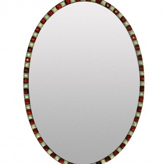 A PAIR OF GEORGIAN STYLE IRISH MIRRORS WITH RUBY GLASS & ROCK CRYSTAL FACETED BORDER