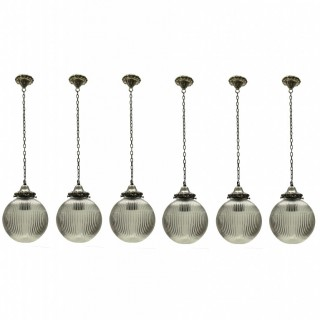 A SET OF SIX FRENCH PENDANT LIGHTS