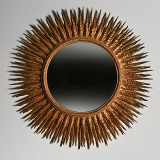 Superb Large Mid 20th Century French Gilt Wood Sunburst Mirror