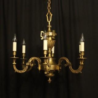 French Gilded Bronze 6 Light Chandelier