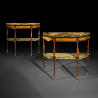 Pair of George III Satinwood and Painted Console Tables