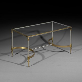 A Steel and Glass Cocktail Table of Maison Jansen Style