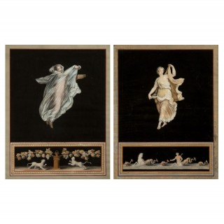 Pair of Michelangelo Maestri 'Pompeian' Gouaches
