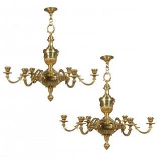 Pair of Robert Adam Style Bronze Chandeliers