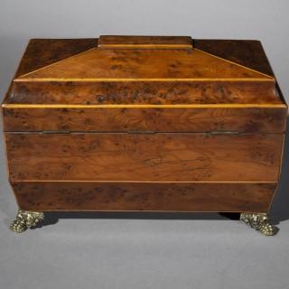 Regency Burr Yew Tea Caddy