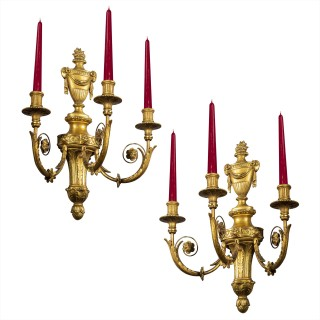Pair of Robert Adam Style Giltwood Wall Sconces