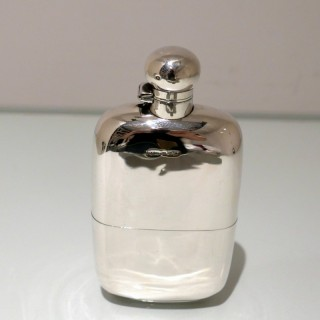 Early 20th Century Antique Edwardian Sterling Silver Hip Flask Sheffield 1904 James Dixon & Sons