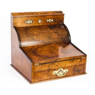 Antique Burr Walnut Writing & Stationery Box c.1880 19th Century