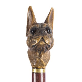 Antique Black Forest Bulldog's Head Walking Stick Cane 19th C