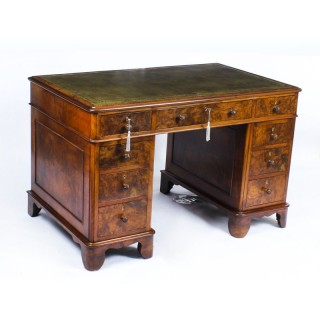 Antique Victorian Burr Walnut Pedestal Desk 19th C