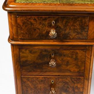 Antique Victorian Burr Walnut Pedestal Desk 19th C
