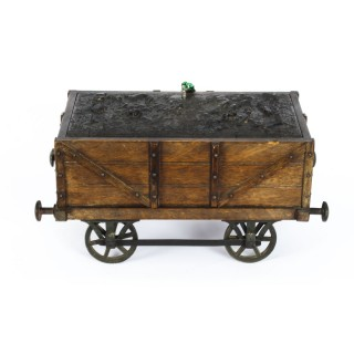 Antique Coal Wagon Oak Humidor Railway Interest 19th Century