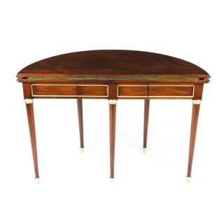 Antique French Directoire Brass Mounted Card Table Early 19th Century