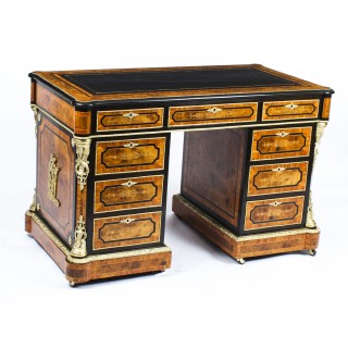 Antique Burr Walnut, Olive Wood, Ebonised, Ormolu Mounted Pedestal Desk 19th C