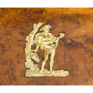 Antique Burr Walnut, Olive Wood, Ebonised, Ormolu Mounted Pedestal Desk 19th C