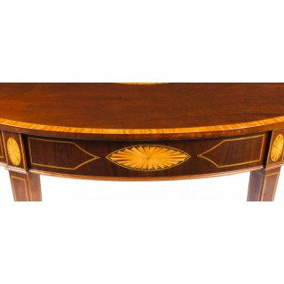 Antique Near Pair Mahogany and Satinwood Inlaid Side Console Tables 19th C