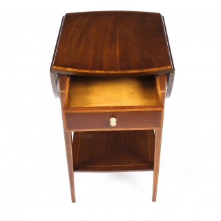 Antique Pair of Edwardian Inlaid Mahogany Bedside Tables c1900