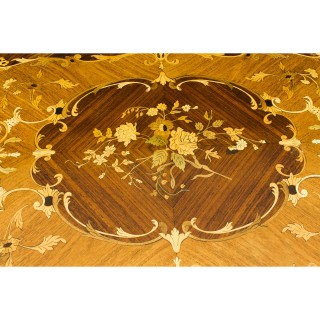 Antique French Burr Walnut Marquetry Card / Backgammon Table 19th Century