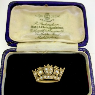 Antique Pearl and Gold Naval Coronet Brooch.