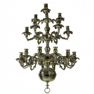 A FRENCH SILVER PLATED BRONZE CHANDELIER