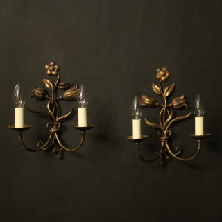 Florentine Pair Of Toleware Twin Arm Wall Lights