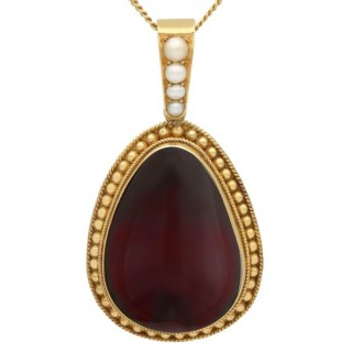 32.67ct Garnet and 9ct Yellow Gold Pendant - Antique Victorian Circa 1870