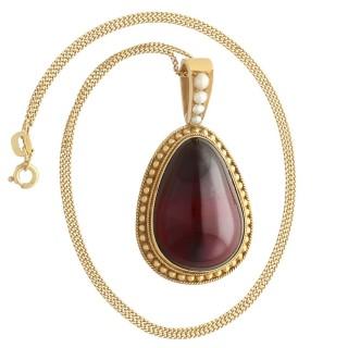 32.67ct Garnet and 9ct Yellow Gold Pendant - Antique Victorian Circa 1870