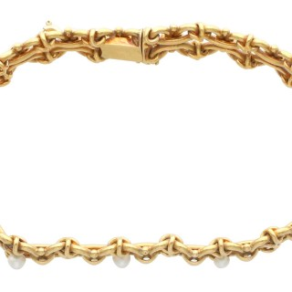 Natural Pearl and 18ct Yellow Gold Bracelet - Antique French Circa 1890