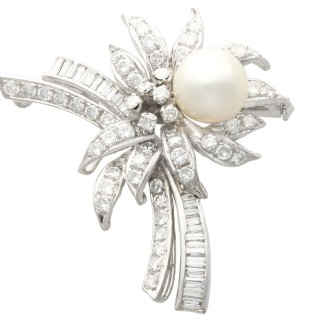 Cultured Pearl, 3.92 ct Diamond and 12 ct White Gold Brooch - Vintage Circa 1940